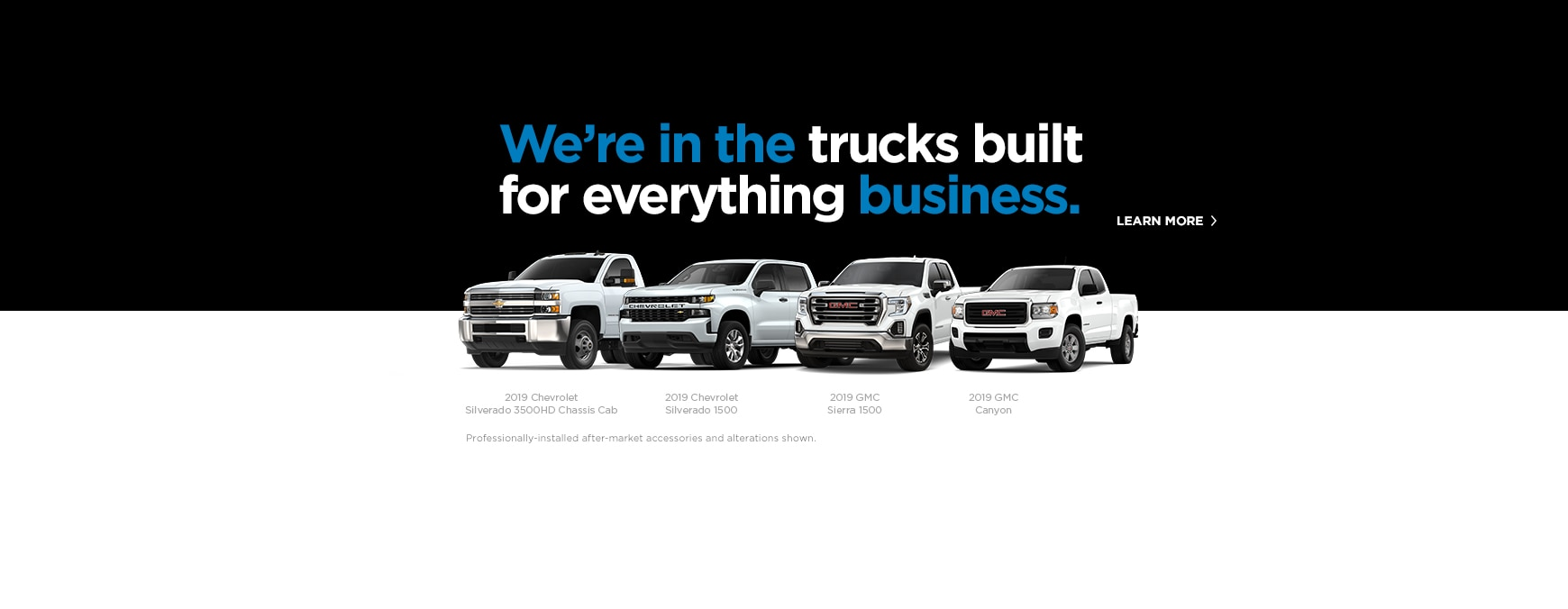 Select the Learn More link to go to the GM Fleet Trucks page.