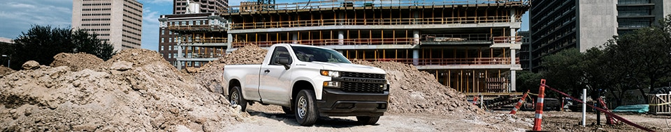 View of GM Fleet Chevrolet trucks outfitted with commercial grade accessories.
