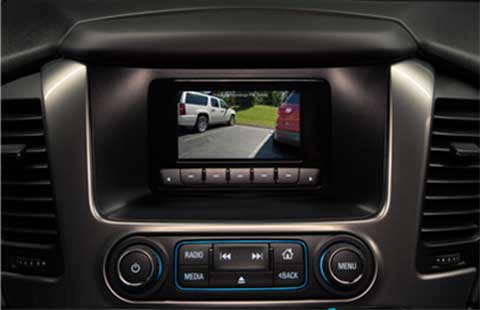 Interior view of a GM police vehicle's rear vision camera.