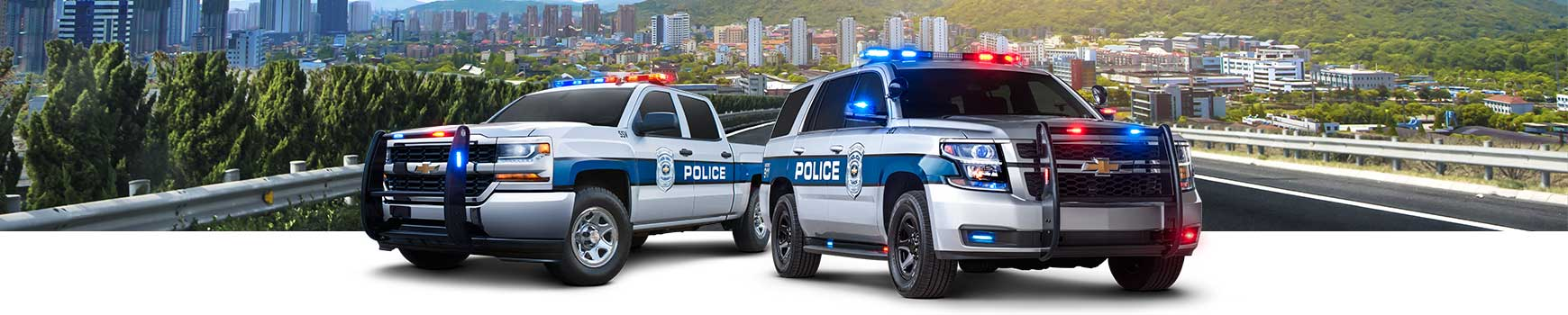 The Chevrolet Silverado Crew Cab Special Service Vehicle and Chevrolet Tahoe Police Pursuit Vehicle.