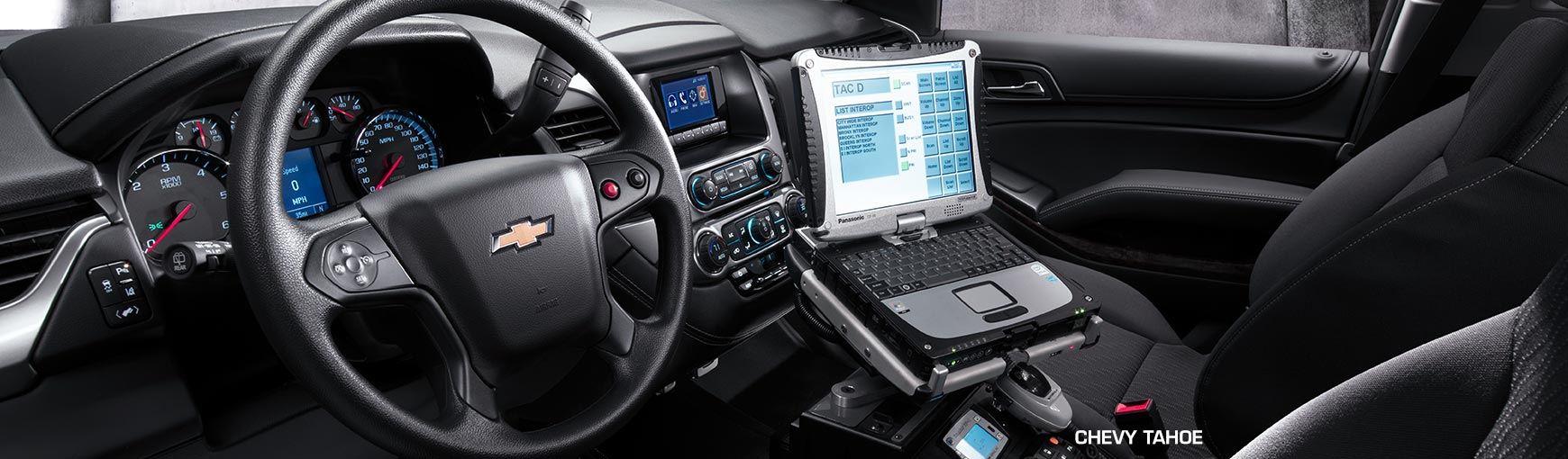 Interior of the 2017 Chevrolet Tahoe Police Pursuit SUV.