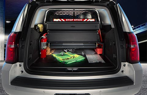 Rear view of the Chevrolet Tahoe SUV PPV's large cargo space.