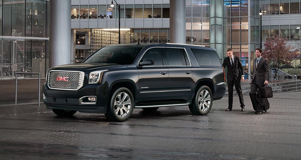 Exterior view of a 2017 GMC Yukon Denali full-size SUV.