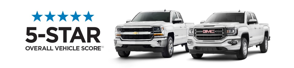 View of the 5-Star Overall Vehicle Score for Safety, awarded to the Chevrolet Silverado 1500 and GMC Sierra 1500.