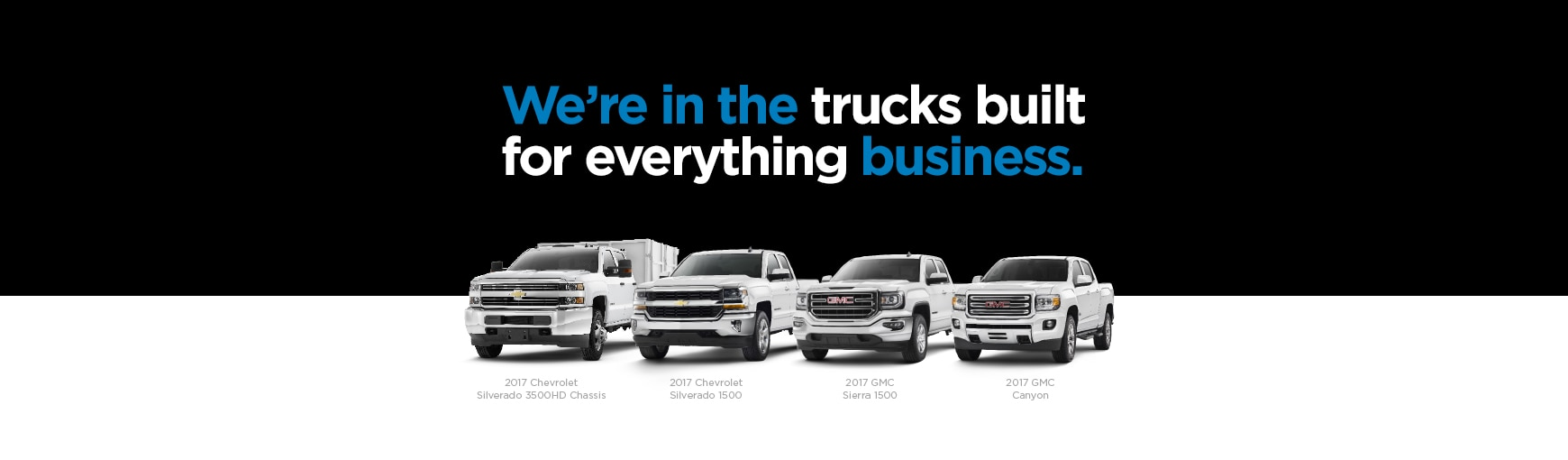 The GM Fleet lineup of GMC and Chevrolet trucks.