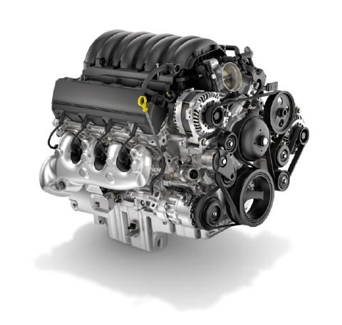View of the 6.6L Duramax Diesel V8 engine available in both the 2017 Chevrolet Express and GMC Savana vans.