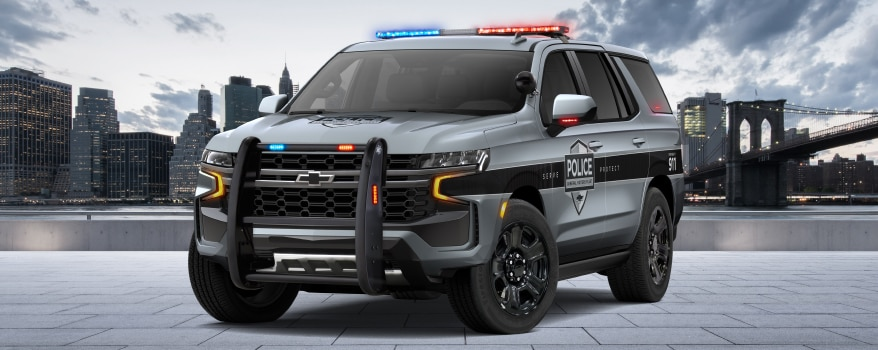Front exterior view of the 2021 Chevy Tahoe PPV.